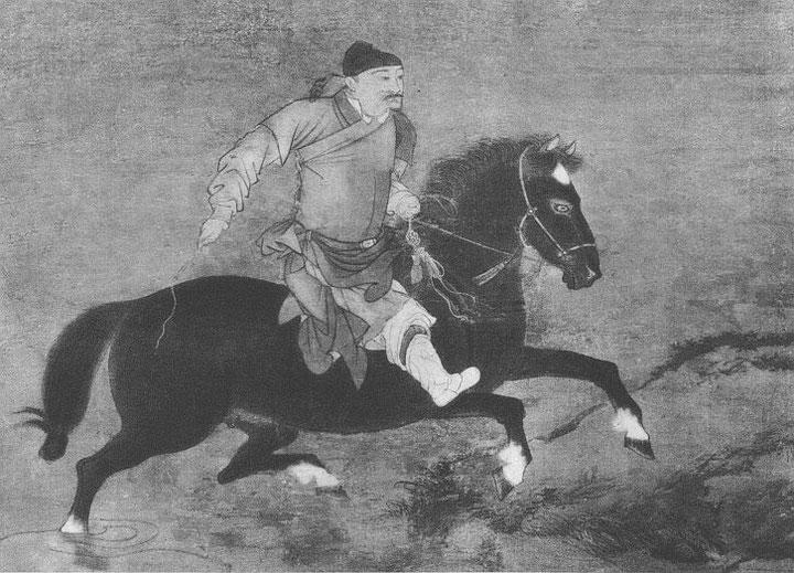 Je monte sur cette haute montagne ; le poil noir de mon cheval est jauni par la maladie.