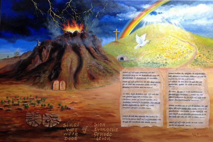 """k,sla de ogen op naar de bergen,Waarkomt mijn hulp vandaan """"Sinai of Sion"""" (Hand 15:10-11) """" Nu dan wat verzoekt gij God om een juk op de hals der dicipelen te leggen .Hetwelk wij nog onze vaders hebben kunnen dragen"""""""