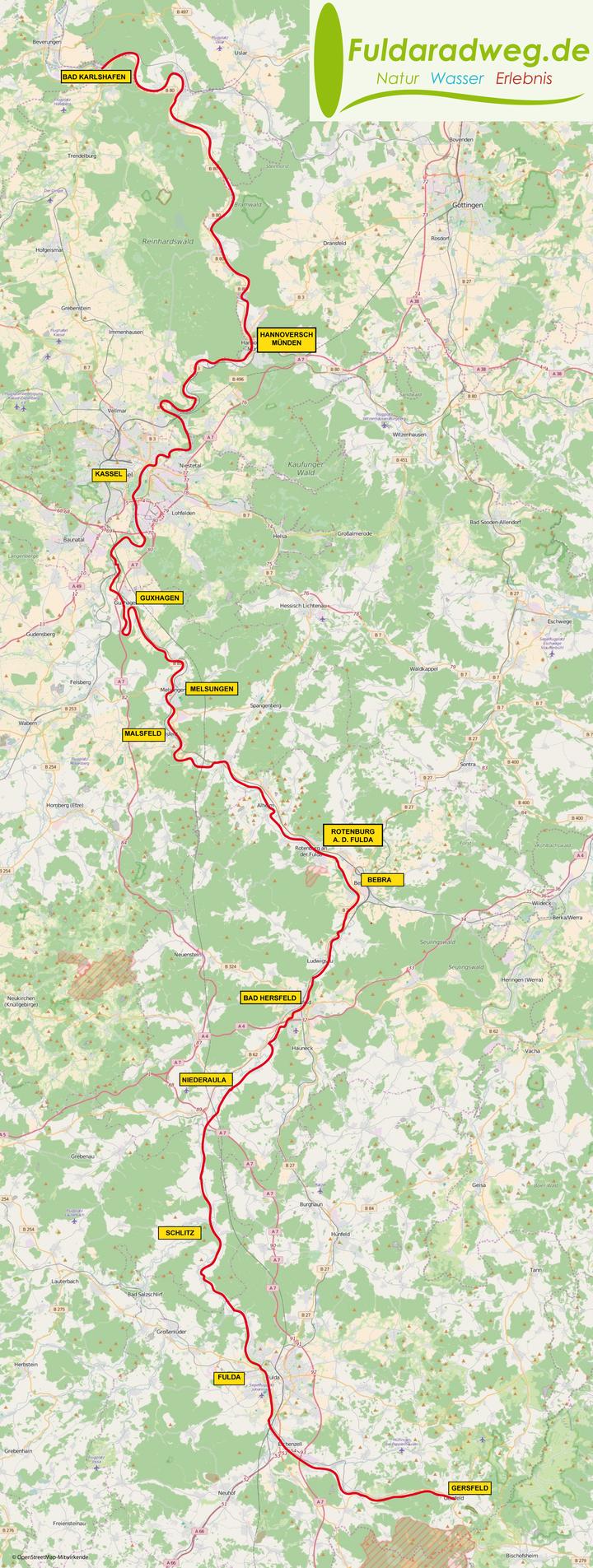 Karte Kassel Und Umgebung.Fuldaradweg Offizielle Website Von Fuldaradweg De