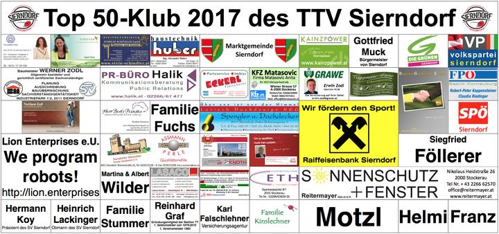 So sieht das diesjährige Transparent aus. Es begleitet alle Heimspiele der Bundesliga und die Großveranstaltungen des TTV Sierndorf.