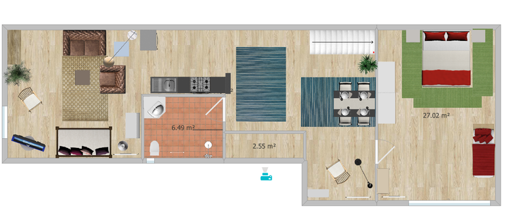 Grundriss unserer Gästewohnung, insges. ca 90 qm