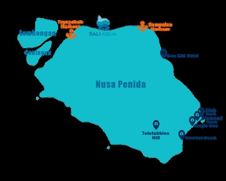 Carte des points d'intérêts à visiter sur la côte Est de Nusa Penida.