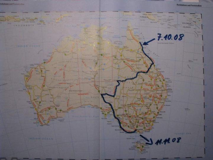 Die Strecke von Cairns nach Melbourne