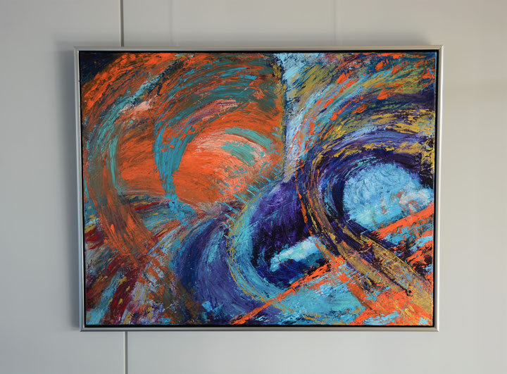 in opdracht, Titel; Wave after Wave, 70 x 90 cm, acryl op linnen (aluframe), Februari 2020. VERKOCHT/SOLD