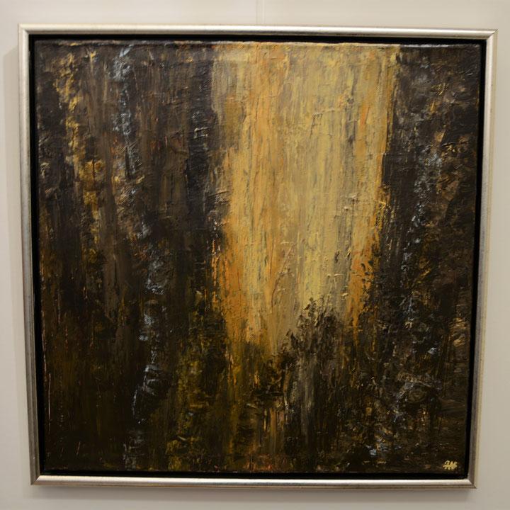 Titel: internal stream, 70 x 70 cm, acryl op linnen, december 2019, Prijs € 590,-.