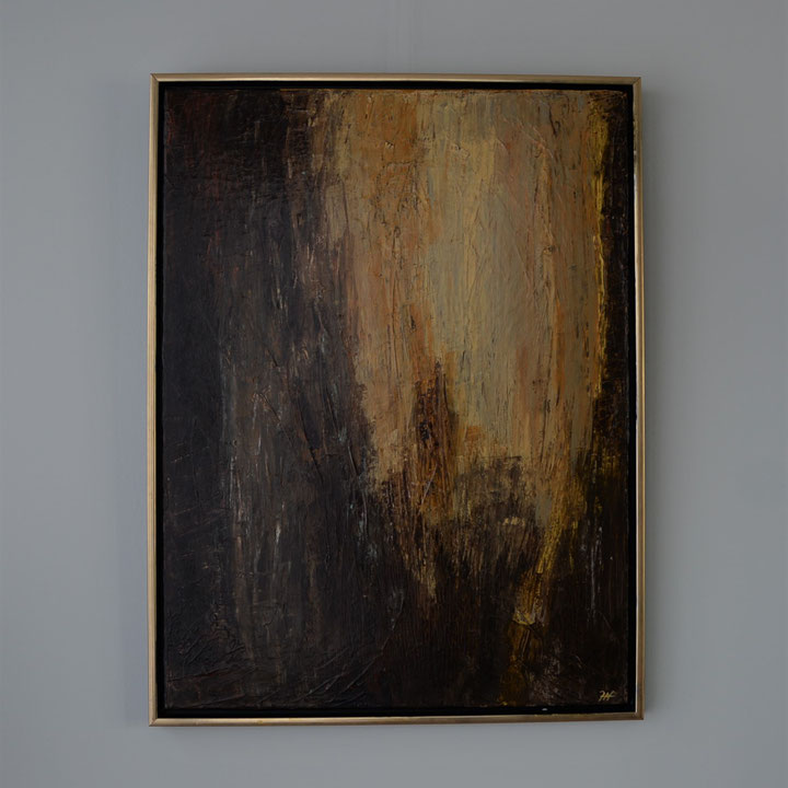 Titel: Ghosts from the past, 60 x 80 cm, met lijst, Acryl op linnen, gelakt zijdeglans. December 2019. Prijs € 640,-.