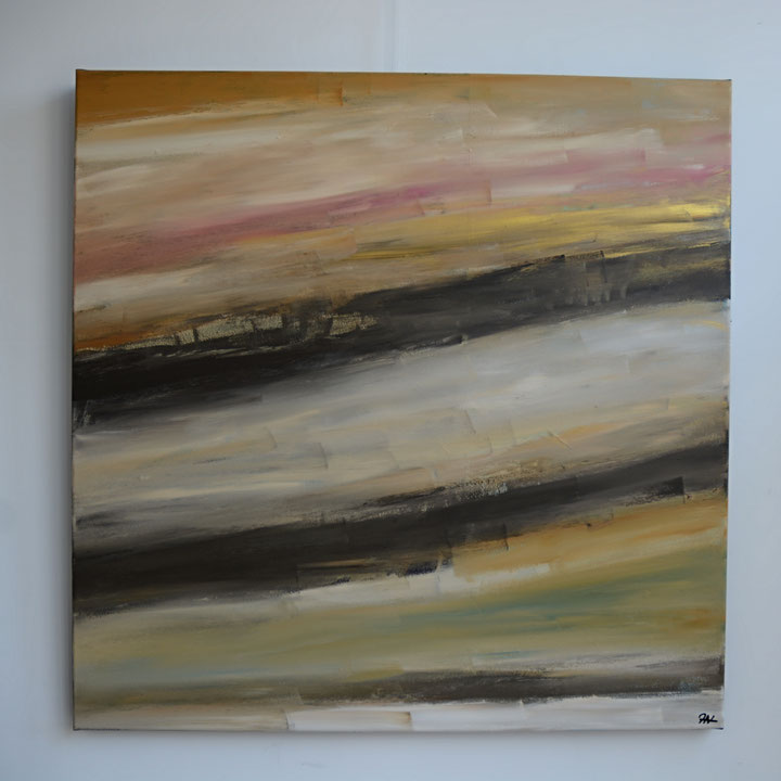 Titel: Afraid of time, 100 x 100 cm, Acryl, mat gelakt, juni 2018, Prijs € 600,=