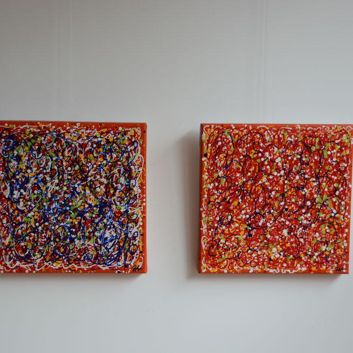 Titel; On and off, 2 x 40 x 40 cm, Acryl op katoen, glanzend gelakt. Januari 2019, Prijs € 450,-