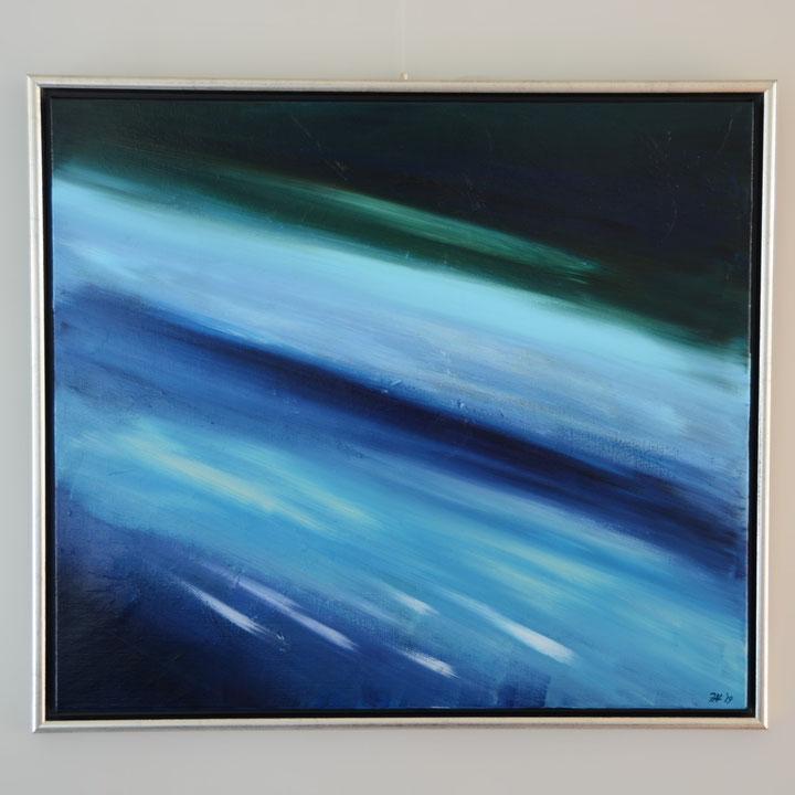 Titel: close to the edge, 70 x 80 cm, acryl op linnen, zijdeglans gelakt in lijst. Juli 2019. Prijs € 650,-.