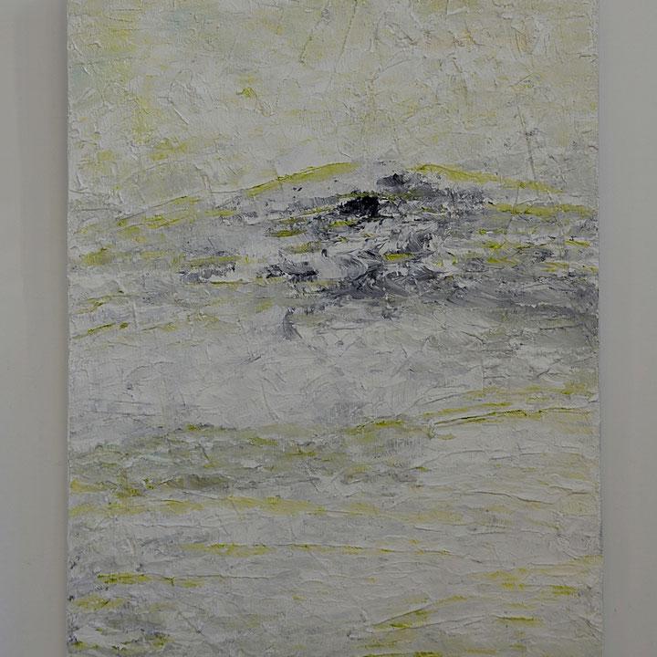 Titel: Reflections in white, grey and green, 60 x 80 cm, Acryl en zand. Matt gelakt. Oktober 2018. Prijs € 600,-,-