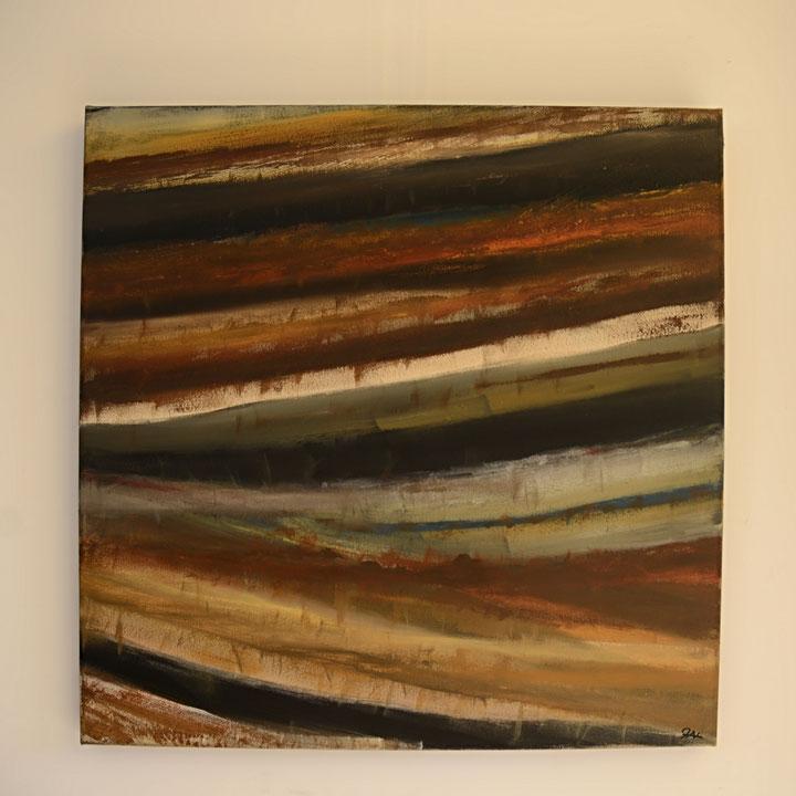 Titel: Afraid of time III, 100 x 100 cm, katoen, acryl mat gelakt, juli 2018. Prijs € 800,-