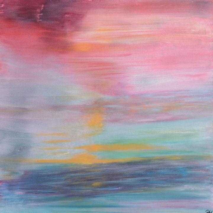 Titel: red sky; Acryl, gesso, zand, 100 x 100 cm aluframe. Augustus 2020. Prijs € 800,-