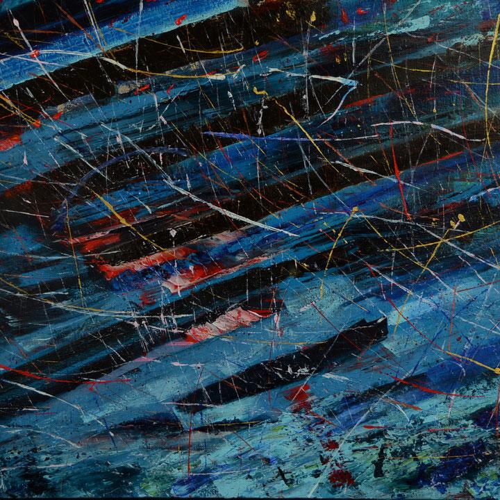 Titel: Veines Bleues, Olie op linnen, 120 x 80 cm. September 2020. Prijs € 1.050,-.