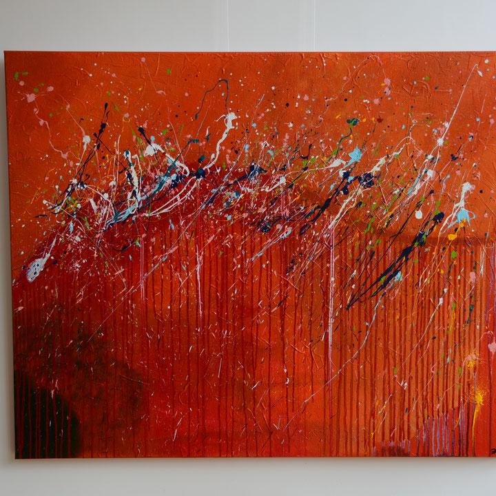 Titel: Reflections 4, 150 x 120 cm, Acryl op katoen. Februari 2019. Prijs € 980,-