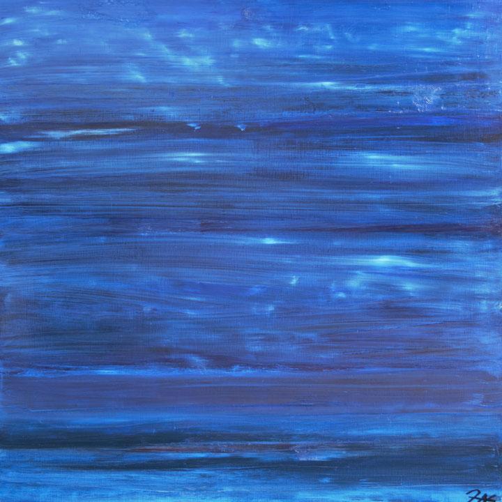 Titel: Bleu Nocturne, Olie op linnen, 100 x 100 cm. Ingelijst met zwarte lijst. November 2020. Prijs € 1.200,-.