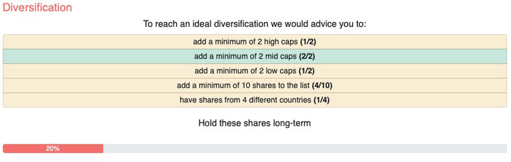 Diversification fair Value stock portfolio