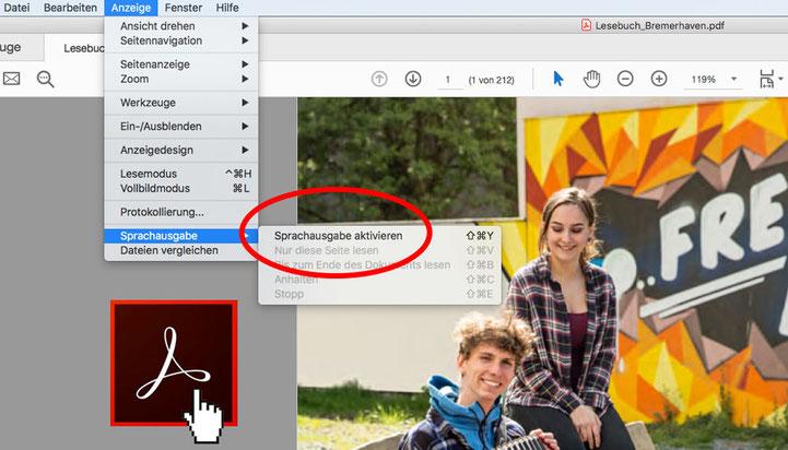 Screenshot: Sprachausgabe im Adobe Acrobat Reader aktivieren