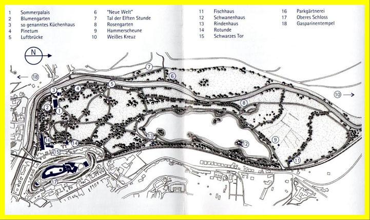 Eine Karte des Greizer Parkes