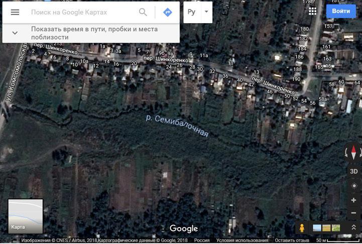 Район обнаружения тела Суворина, город Шахты Ростовской области. Снимок карты Google