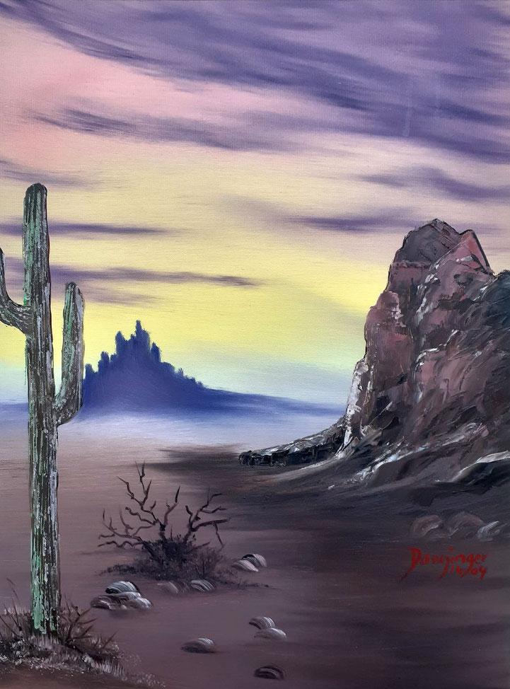Mexiko Wüste, Öl auf Strukturpapier. Gemaltes Landschaftsgemälde by Daninas-Kunst-Werkstatt.at