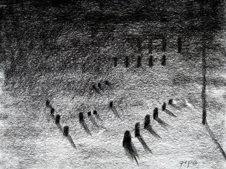 Cementerio 4, 2006 carboncillo 35X28 cm