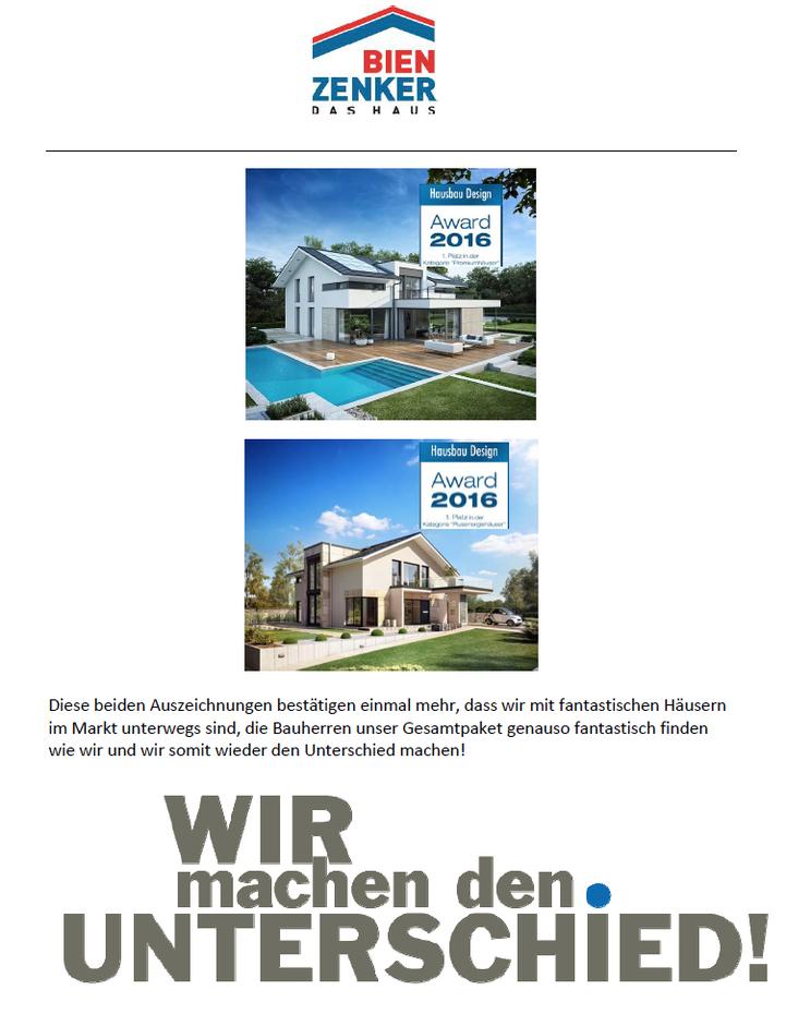 """wir sind sehr stolz darauf, in diesem Jahr erneut für Bien-Zenker die top Auszeichnung """"MOST INNOVATIVE BRAND HAUSBAU 2015"""" und damit den großen Plus X Award erhalten zu haben. Im Rahmen der großen Plus X Award Night im alten Bundestag in Bonn sind wir z"""