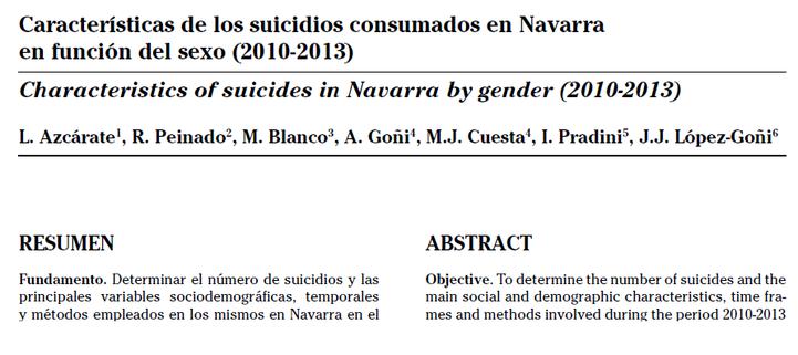 Características de los suicidios consumados en Navarra en función del sexo (2010-2013).
