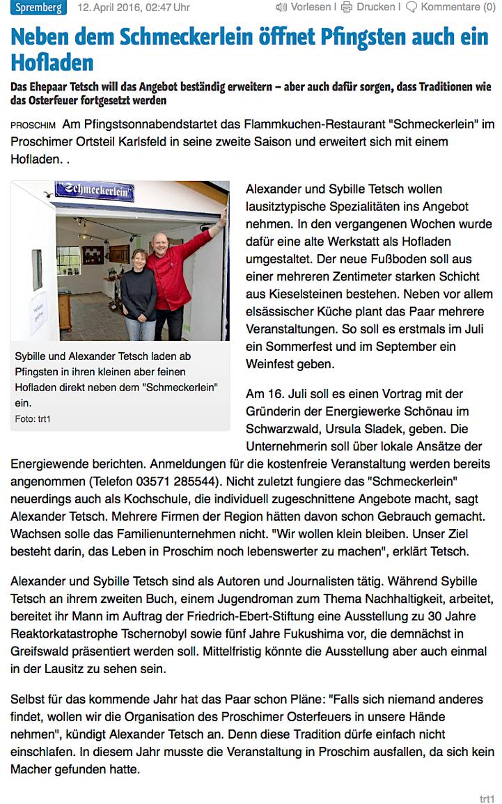 """aus der """"Lausitzer Rundschau"""" vom 12. April 2016"""