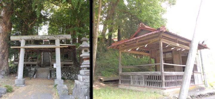岩上神社(児玉町太駄)の鳥居と神楽殿