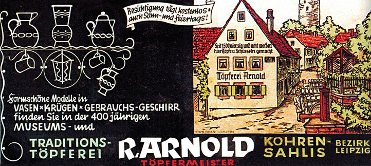 Werbeblatt Töpferei Arnold Kohren Sahlis