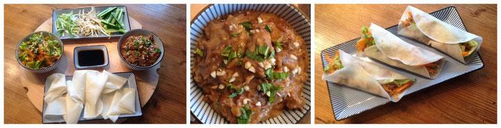 Thaise rundvleescurry met pinda's en kokosmelk, geserveerd met een mango/chinesekool/wortel salade, reepjes komkommer en bosui, taugé, peking eend wraps en een dipsaus van ketjap/sambal/gember.