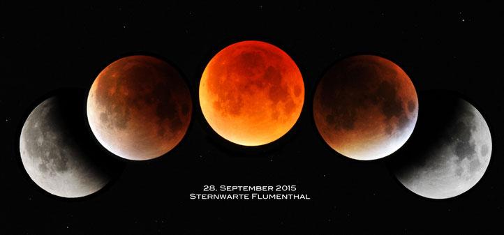 Die Mondfinsternis vom 28. September 2015 in einer Zeitraffer-Aufnahme - aufgenommen von der Sternwarte Flumenthal