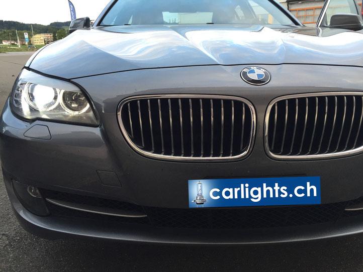Lichtbild eines BMW 5er Umrüstung auf LED H7 Licht - Hammer Optik und mit 3000LM so hell wie Xenon