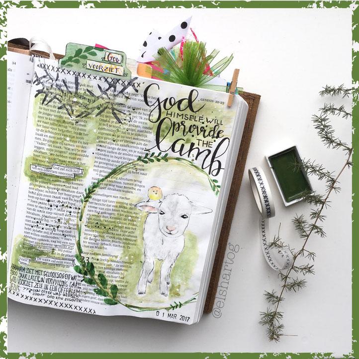 Biblejournaling voorbeeld Jesaja 22:7 #biblejournalingchallenge40dagen
