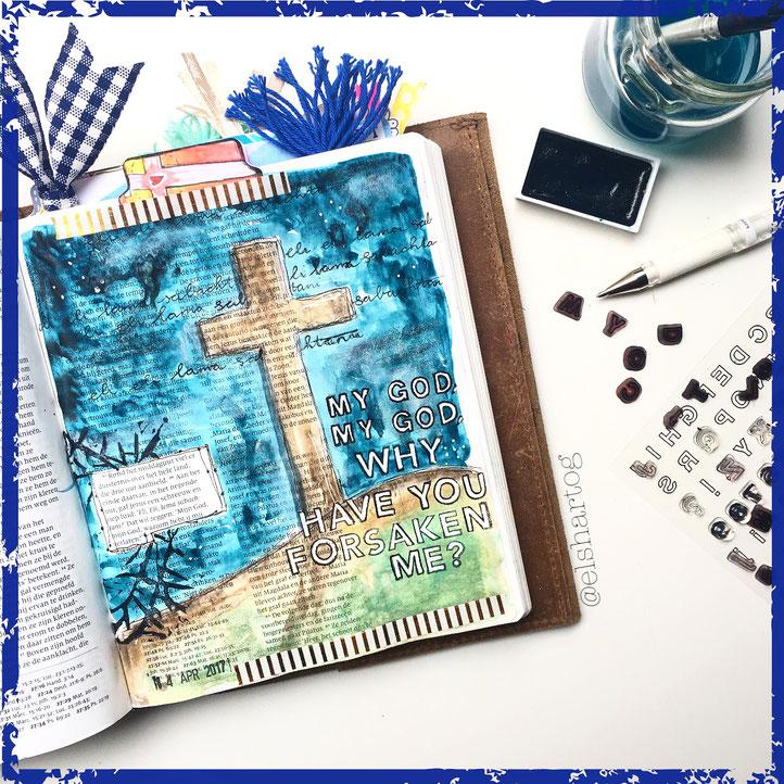 Biblejournaling voorbeeld Mattheüs 27:46 #biblejournalingchallenge40dagen