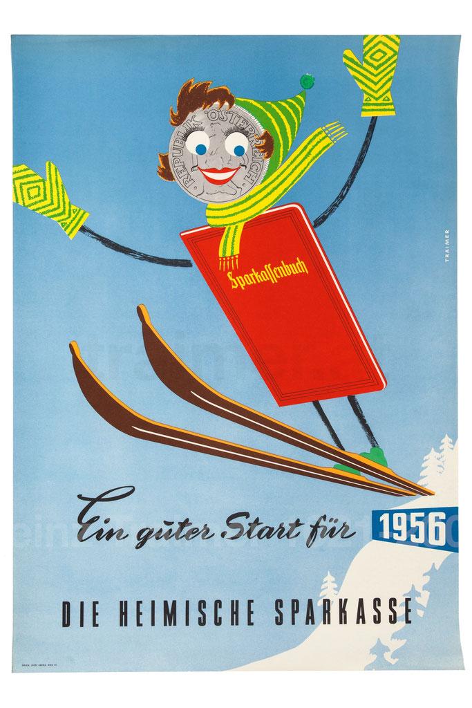 Ein guter Start fürs Neue Jahr. Plakatat Werbung 1957 der Sparkassen und das Sparkassenbuch