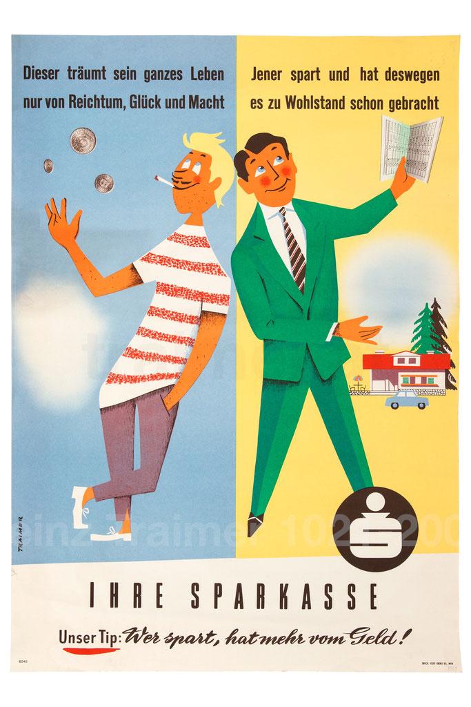 Plakat: Geldverschwender und einem Sparer 1950er Jahre.