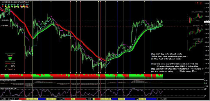 Ribbon Trader, MACD and Stochastic  Trading System: Template and Indicators