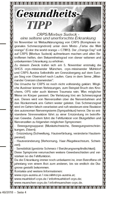 Artikel über CRPS/Morbus Sudeck 2018