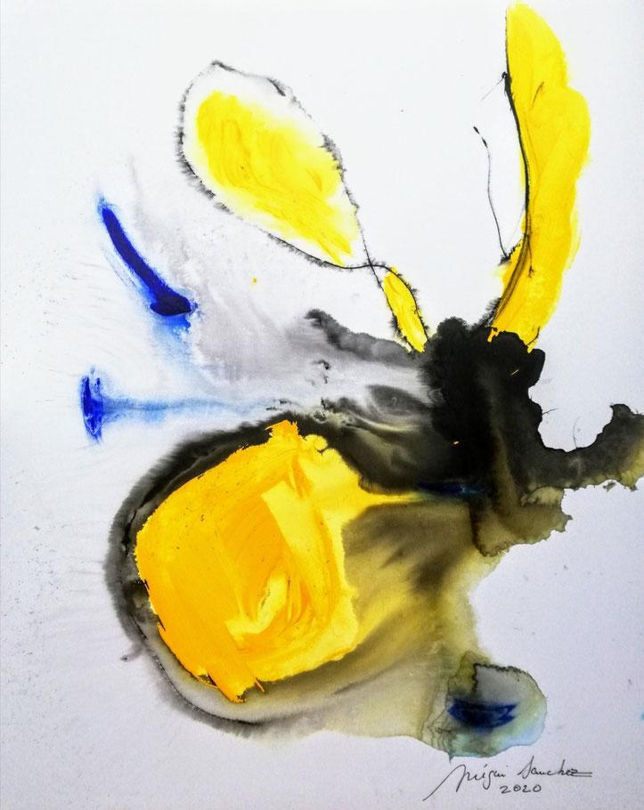Htc 137 Peinture acrylique et encre sur toile format 100/80.