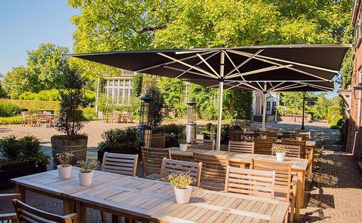 Sonnenschirme für Gastronomie von 400 x 400 cm bis 600 x 600 cm
