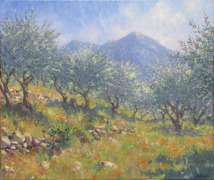 Tony Wahlander (Wåhlander) Paysages de Provence, tableau du Petit Bessillon derrière le champ d'oliviers à Pontevès