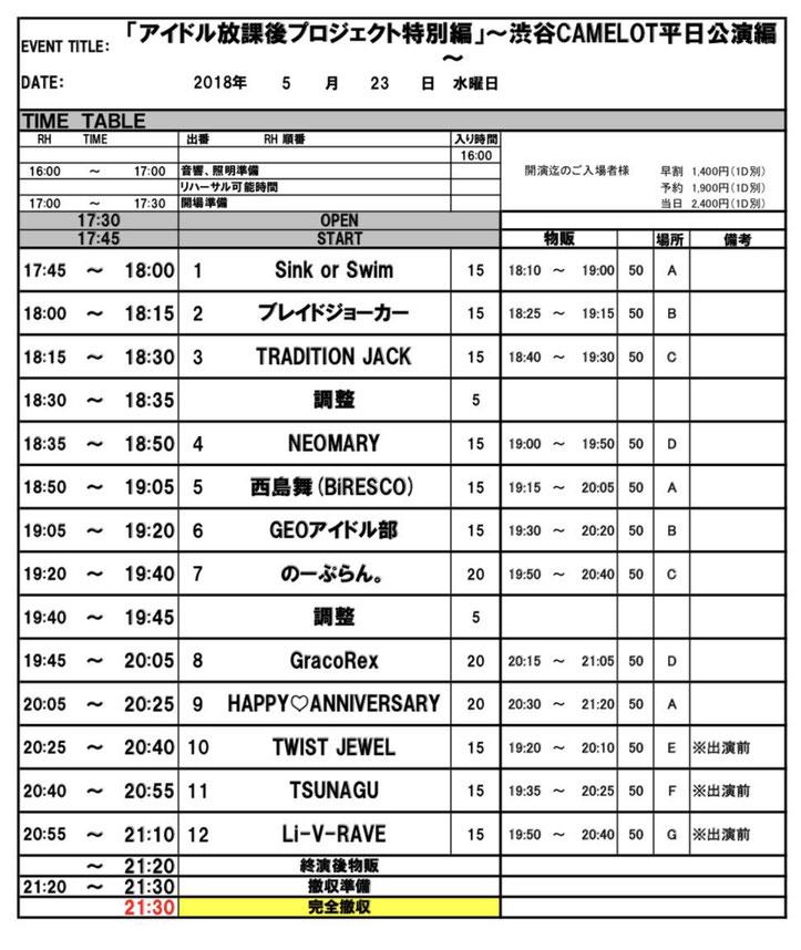 2018年5月23日(水)渋谷CAMELOT