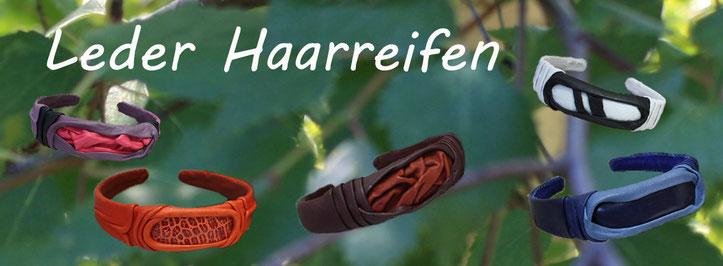Lederhaarreifen | Haarreif aus Leder | Lederdesignschmuck | Designhaarschmuck | Muster Farben Formen | www.blaser-design-bern.ch