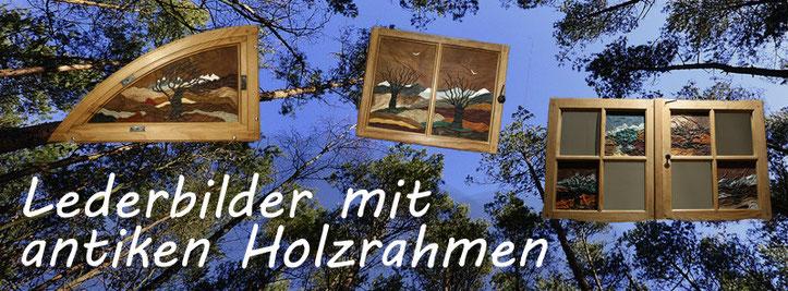 Wanddesign aus echtem Tier Leder | antike Holzrahmen aus der Berner Altstadt | Rustikale Bilderrahmen | Vierjahreszeiten | integrierte Bilder