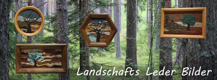 Landschaften gestaltet aus Leder | Landschaftsdarstellung | Einzigartige Designlederbilder aus Schweizer Naturprodukten | Wanddekoration