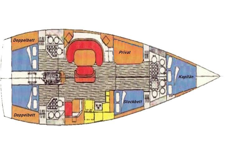Grundriss der Segelyacht Scorpio mit Ihren Kabinen und Aussattung