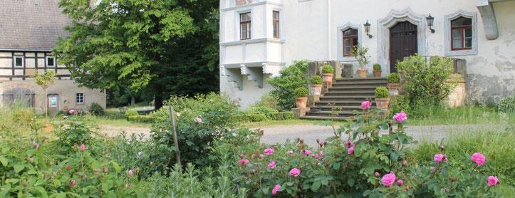 Schlosshof Heynitz im Juni, Foto: E.v.W.