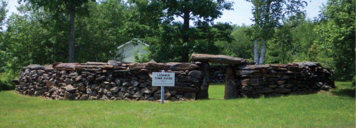 On your way down Center Road, watch for the old Lebanon Town Pound. It was constructed in 1813 and restored in 2001 by The Lebanon Historical Society. Town pounds were used in the past for animals that had strayed from their owner's farm.