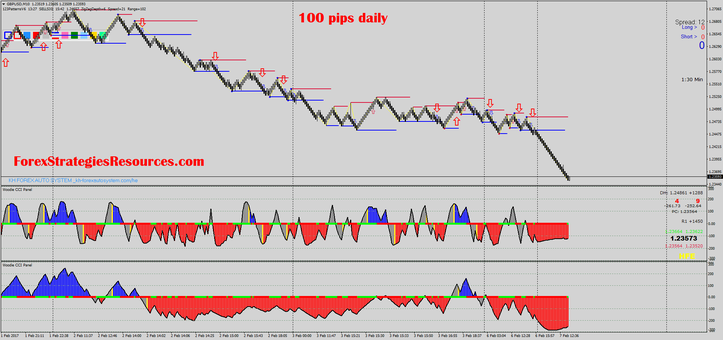 100 pips daily with renko chart and two CCI